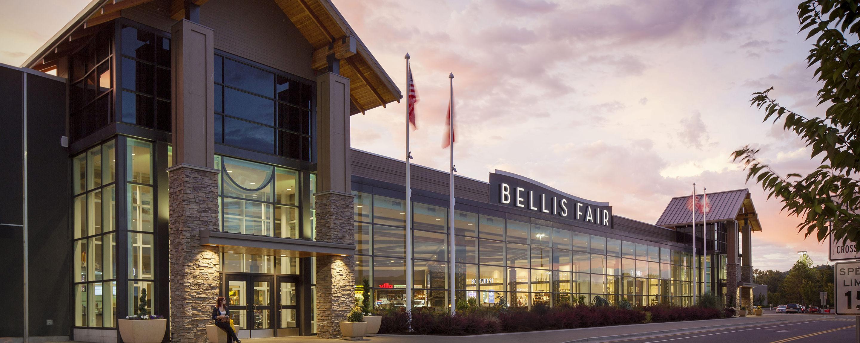 Bellis Fair enclosed shopping center exterior entrance at dusk in Bellingham Washington
