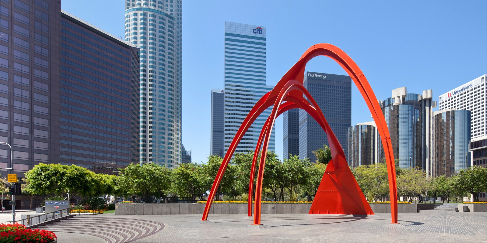 Red sculpture outside of the building