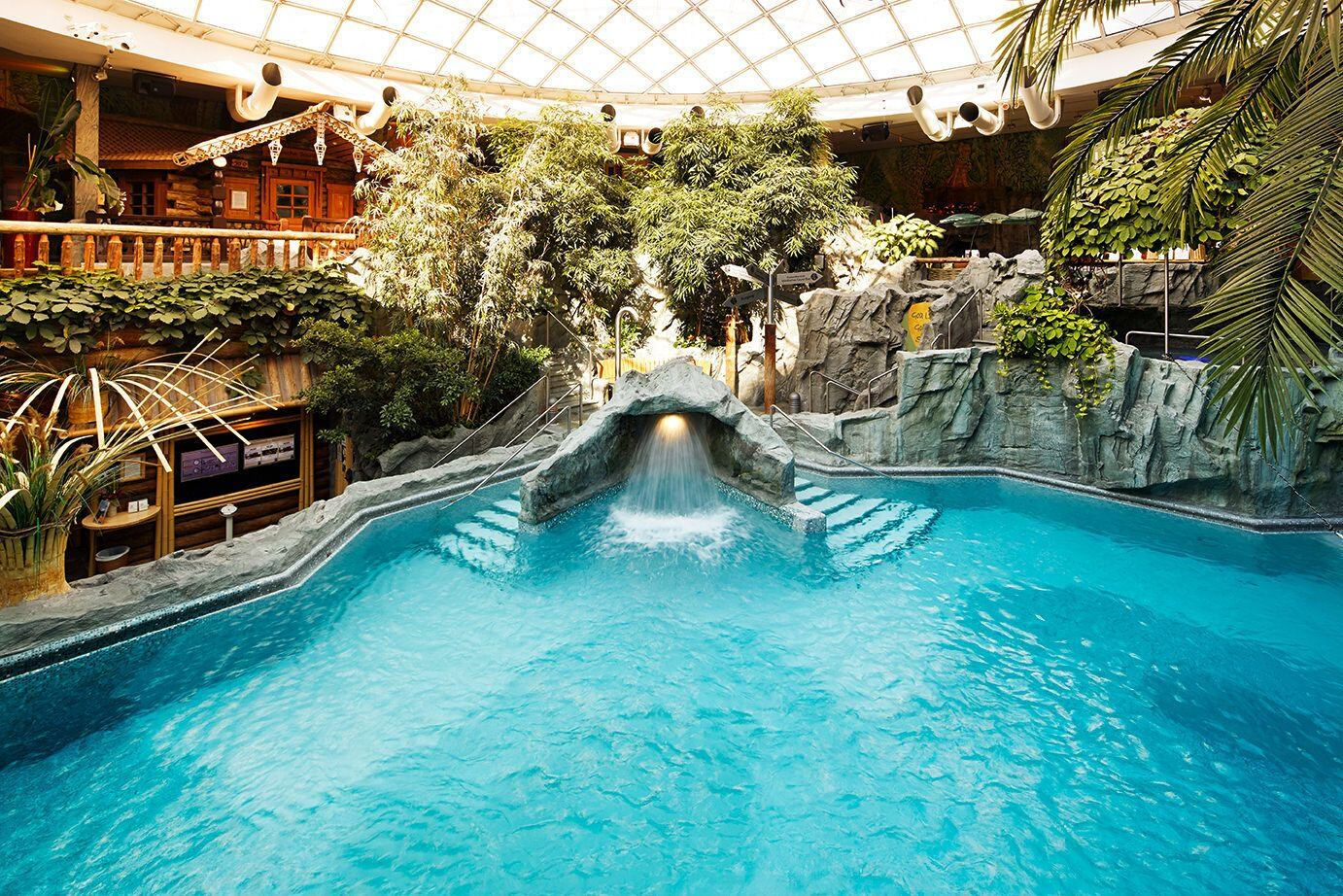 An indoor pool that is surrounded by trees and stores at a resort with a glass roof.