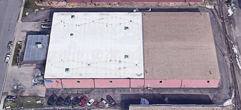 Aerial view of 4770 Joliet Street, a large warehouse.