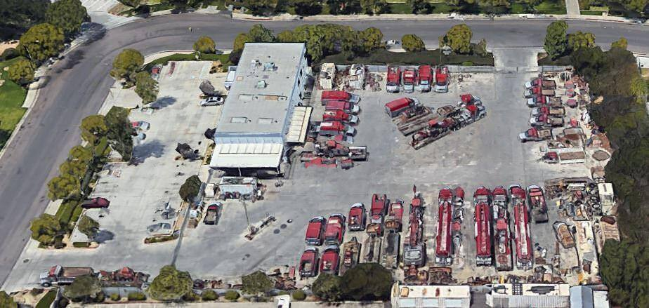 Aerial view of 5755 Eastgate Drive, a warehouse with a large parking area for trucks.