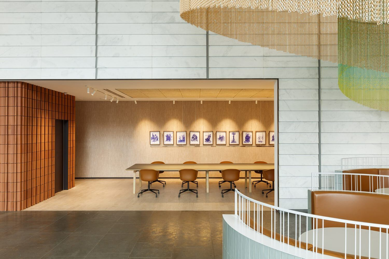 View of a conference room made of wood.
