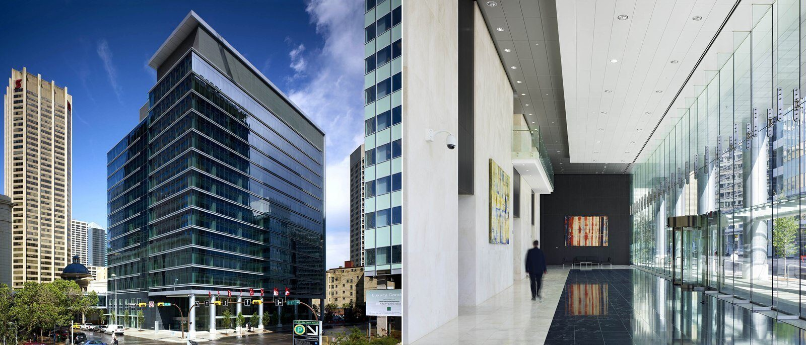 Two photos: one is an exterior of the building, the other is inside the lobby.