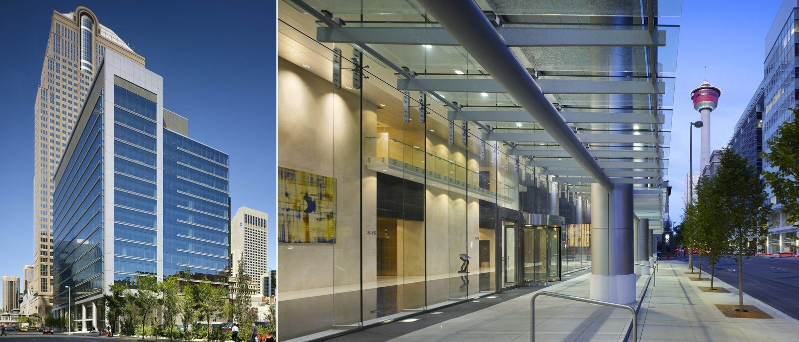Two exterior shots of the building. One shows the entire building, the other shows the entrance from the sidewalk.