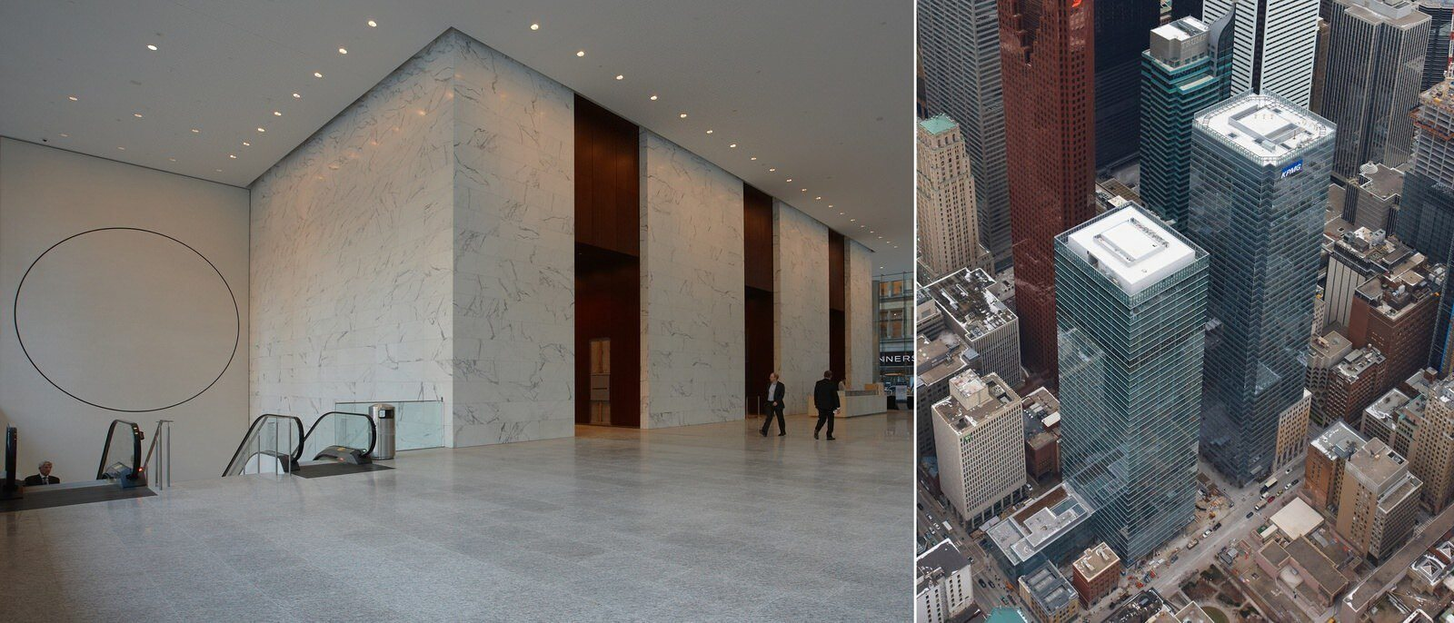 View of a large tiled lobby with elevators and another shot of an aerial view of the buildings.