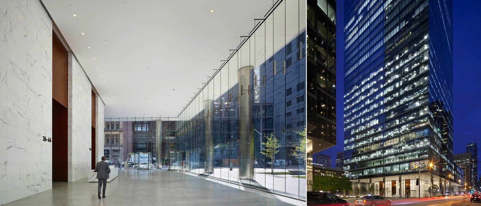 A man walks down a lobby and a separate shot of the building at night.