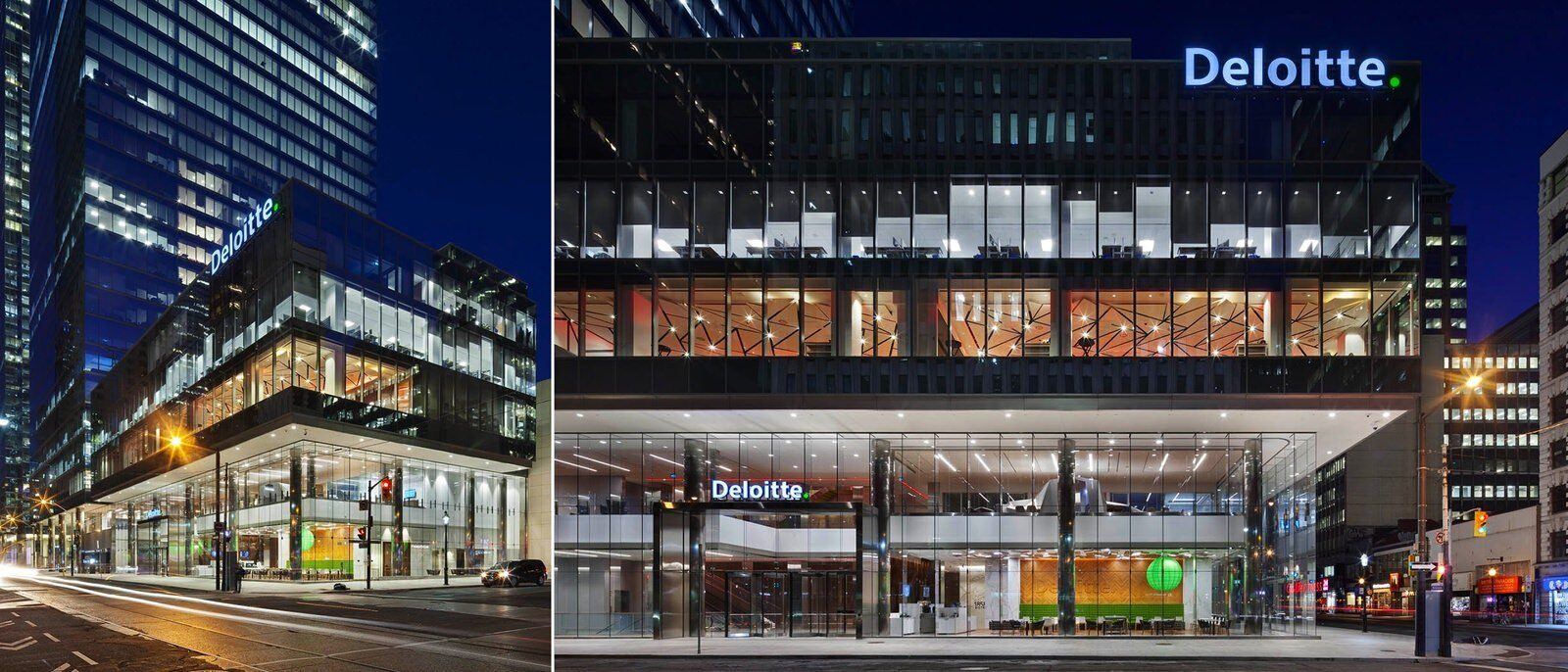 """Two views of the building outside at night. The building says """"Deloitte."""""""