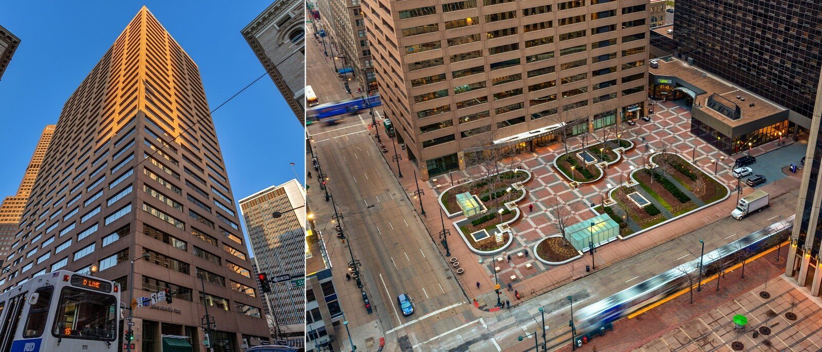 A large outdoor plaza is seen in the middle of a downtown area with large skyscrapers surrounding it.