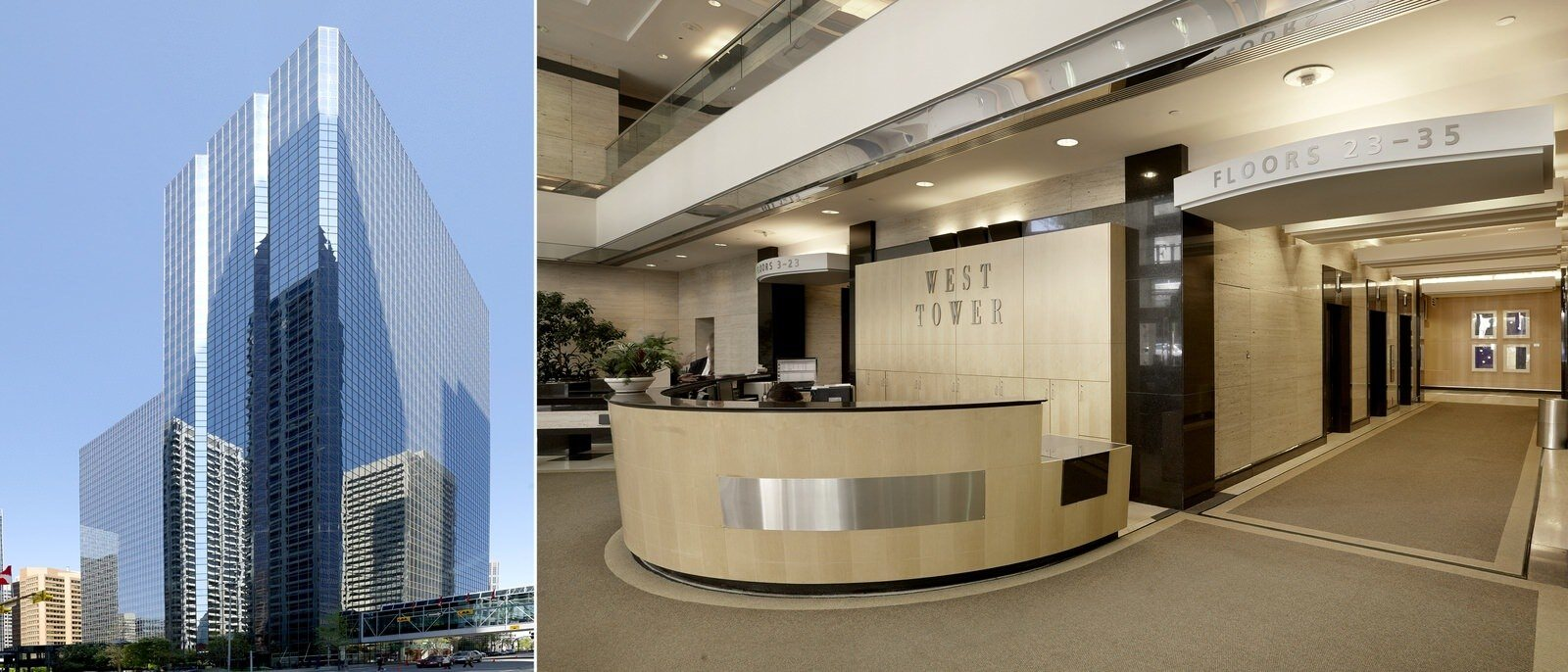 """Exterior view of a building and an interior view of a lobby with a sign that says """"West Tower."""""""