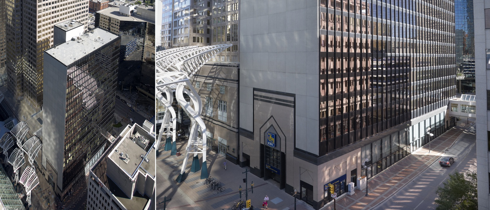 Two photos of a narrow glass building: one from above, and one from the street. A sign is on it that says RBC.