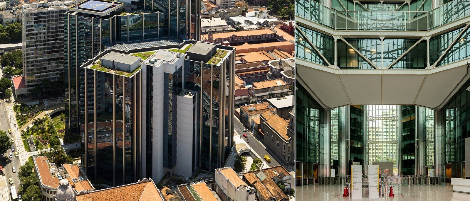 Two images. The first is a large building with tinted glass windows. The second is inside the atrium.
