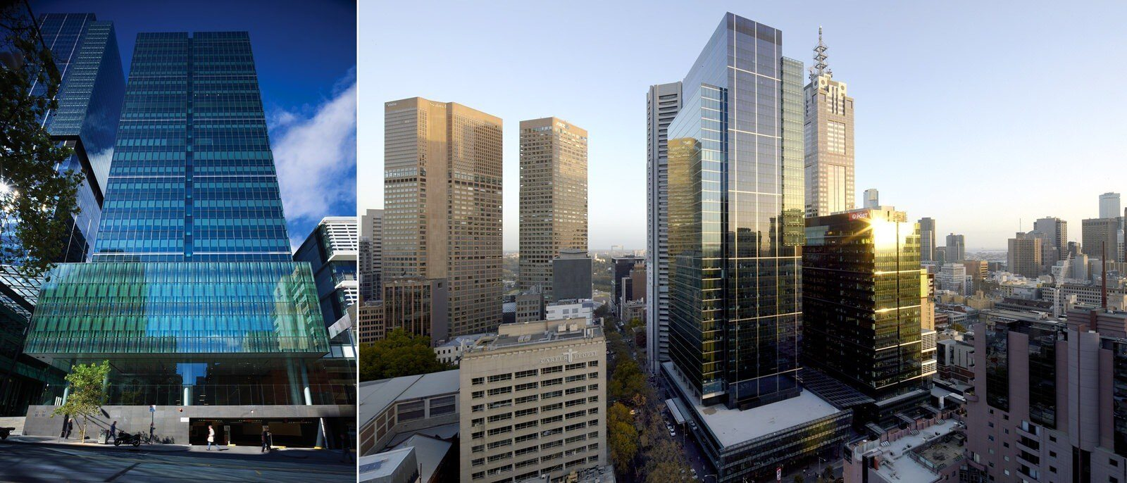 A lot of modern glass and steel buildings that are in a downtown area in a city near some older buildings.