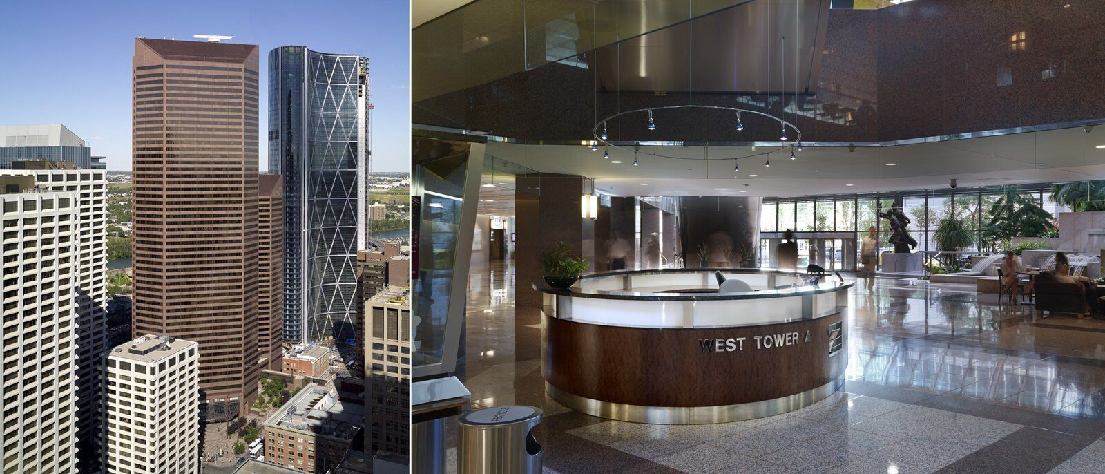 The lobby of the west tower building that is next to other skyscrapers in the middle of the city.