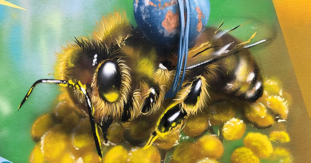 Picture of a bee from one of the street pianos